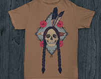 INDIAN SKULL (t-shirt stamp & tattoo design)