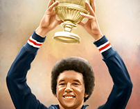 Arthur Ashe Digital Painting by Wayne Flint