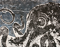Octopus Lino Print