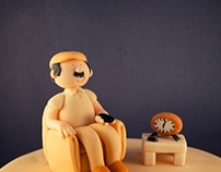 Beige Pensioner 60th Birthday Cake