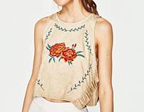 Zara Trafaluc Fake Suede Embroidery Top