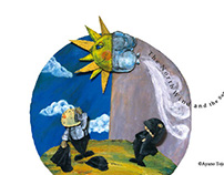 A post card image for the North Wind and the Sun.
