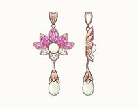 Memory Jewellery Lotus Pendant and Earrings