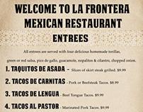 La Frontera Mexican Restaurant Preliminary Menu