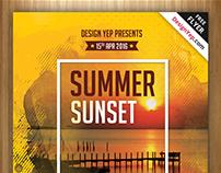 Free Summer Sunset Beach Party Flyer PSD Template