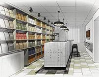 Small coffee showroom interior