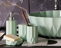 Washbasin, Bathroom accessories.. Limoges porcelaine.