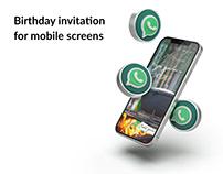Birthday invitation for mobile screens