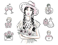 Website illustrations and icons for the gift shop