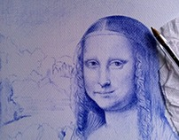 """Mona lisa"" work in progress 21x29.7 cm ballpoint"