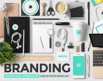 Branding Mock Up Showcase Generator + Photos
