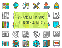 Set of Education & Knowledge thin line icons