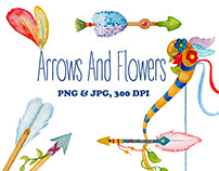 Watercolor Clipart: Arrows and Flowers