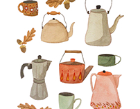 Autumn leaves and tea