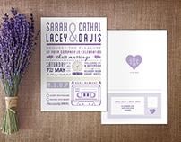 'Sarah & Cathal' - Lilac Palette Wedding Invitation