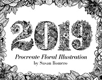 2019: New year's Procreate Floral Illustration