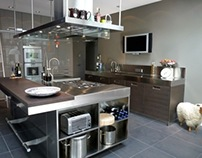 Arclinea Italia kitchen inox, solid ray and grey oak