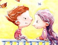 Ilustración infantil, acuarela