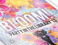 Party in the Library invitations and collateral