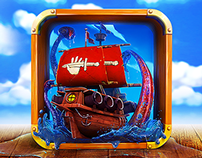 App Icon Design - Wooden Pirate Ship for an iOS Game