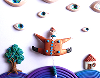 All Watching - miniature diorama made of polymer clay