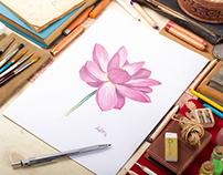Lotus watercolor pattern
