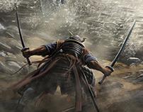 Samurai fight. Concept art.