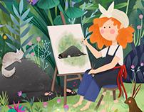 Détente dans le jardin - portrait de Elisabeth Vigée