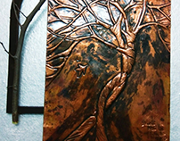 Creative tree painting on copper