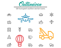 50 Outline Stroke Transport Icons