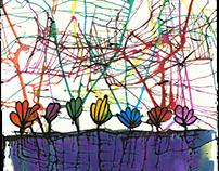 Flores en tierra morada. (Tres en ColombianArt) (v)