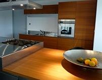 Arclinea Convivium kitchen inox with teak