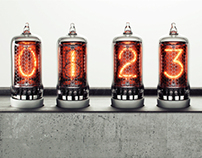 Nixie tube concrete clock