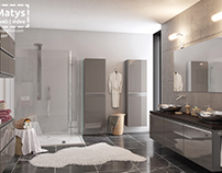 Two bathrooms - 3D visualizations + 360