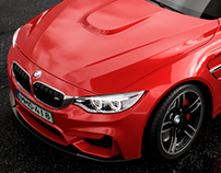 BMW M4. Red color. CGI.