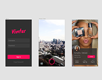 Vinter login, camera and profile screens