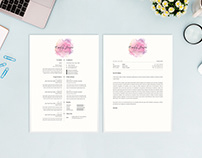 Water Color Resume Template - CV/Cover Letter Template
