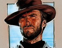 Portrait of Clint Eastwood, movie / film poster.