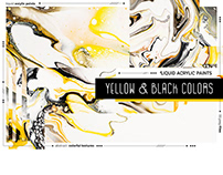 Yellow & Black colors. Liquid acrylic textures.