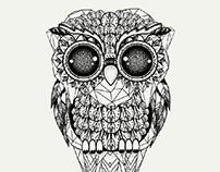 TRIBAL OWL GRAPHIC TEE ILLUSTRATIONS