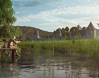 Szászvár Castle 3D environment, render