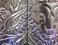 The Lamb & the Lion - Embossed metal works 2012.
