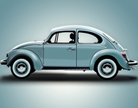 2d Vector illustration - Volkswagen Beetle.