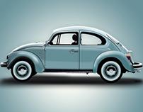 2d Vector illustration - Volkswagen Beetle.