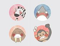 Animal Kingdom | Line Sticker | Illustration