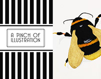Gold Bumblebee Illustration Watercolor&Guache