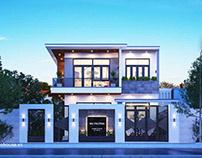 Thiết kế nhà phố mặt tiền 8m 2 tầng hiện đại tại Sơn La