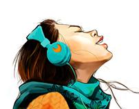 La fille avec les ecouteurs