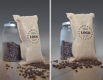Jute Coffee Bag Logo Mockup