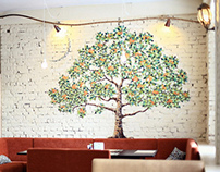 Mosaic orange tree